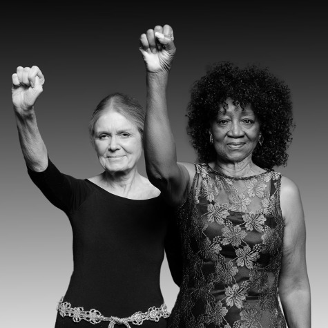 Gloria Steinem and Dorothy Pitman Hughes in the remake of their iconic 1971 photo, presented on Gloria's 80th birthday